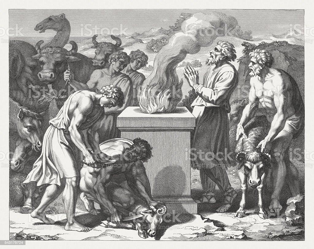 Noah's Sacrifice after the flood  (Genesis 8), published in 1841 vector art illustration