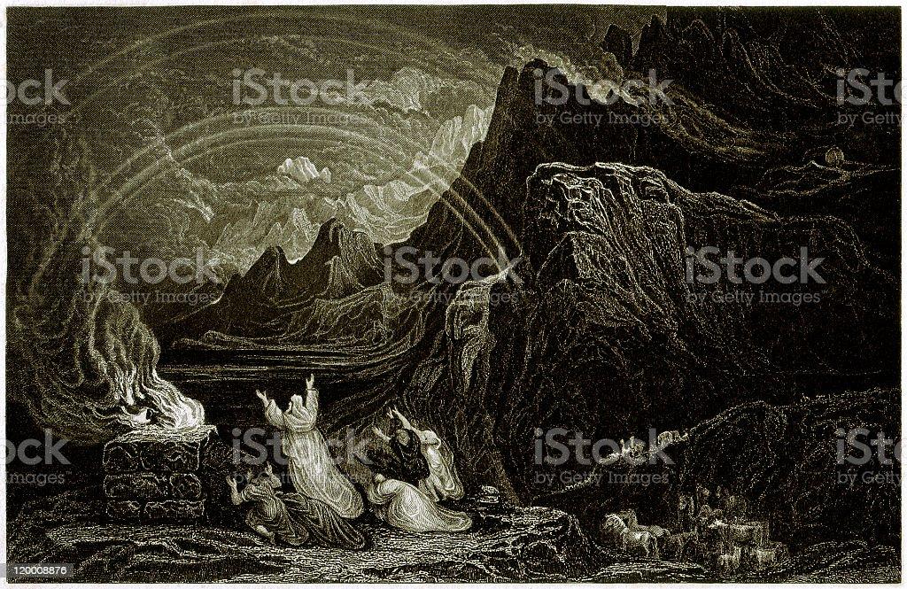 Noah's Sacrifice (Genesis 8, 20-22), steel engraving, published in 1836 royalty-free stock vector art