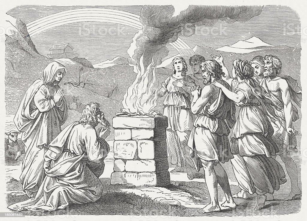 Noah's Sacrifice (Genesis 8, 20-22), wood engraving, published in 1877 royalty-free stock vector art