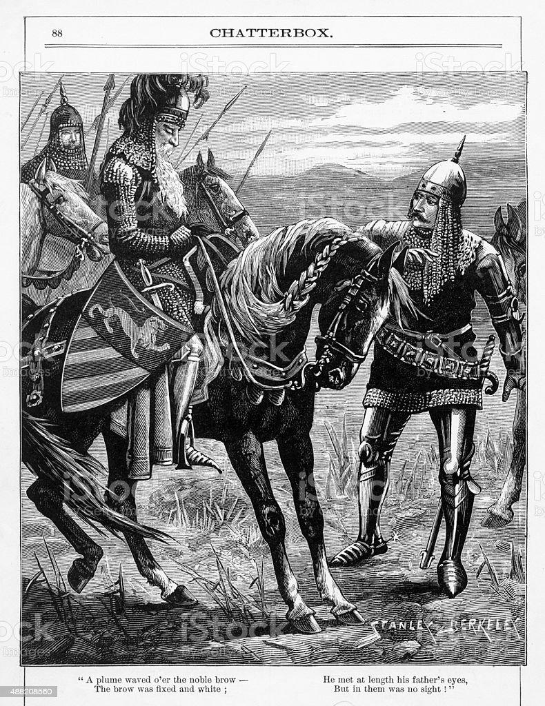 Nobel Knight on Horseback Engraving vector art illustration
