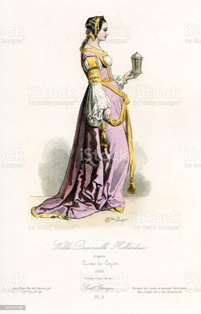 Noble Dutch Maiden royalty-free stock vector art