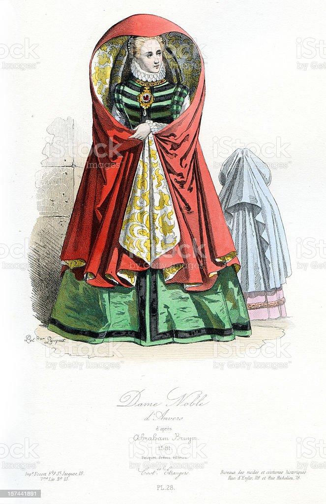 Noble Lady of Antwerp royalty-free stock vector art