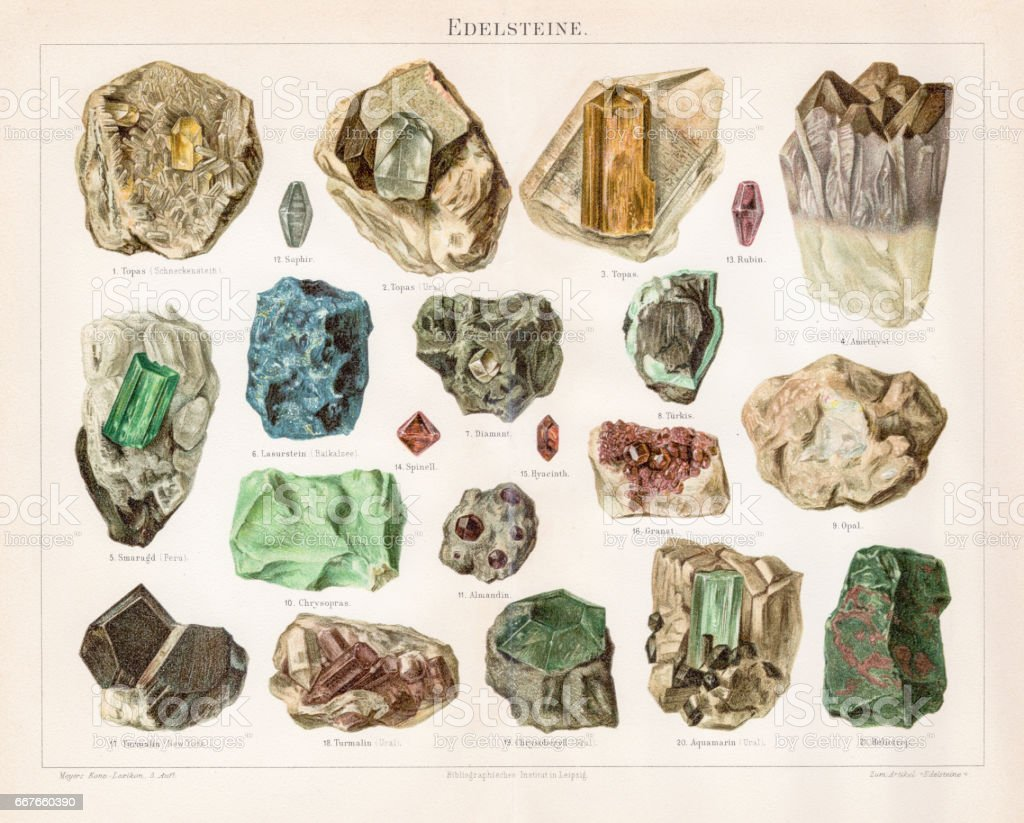 Noble stones chromolithograph 1895 vector art illustration