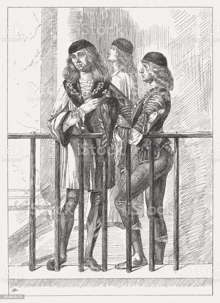Noblemen (Legend of Saint Ursula), painted (1497/98) by Vittore Carpaccio vector art illustration