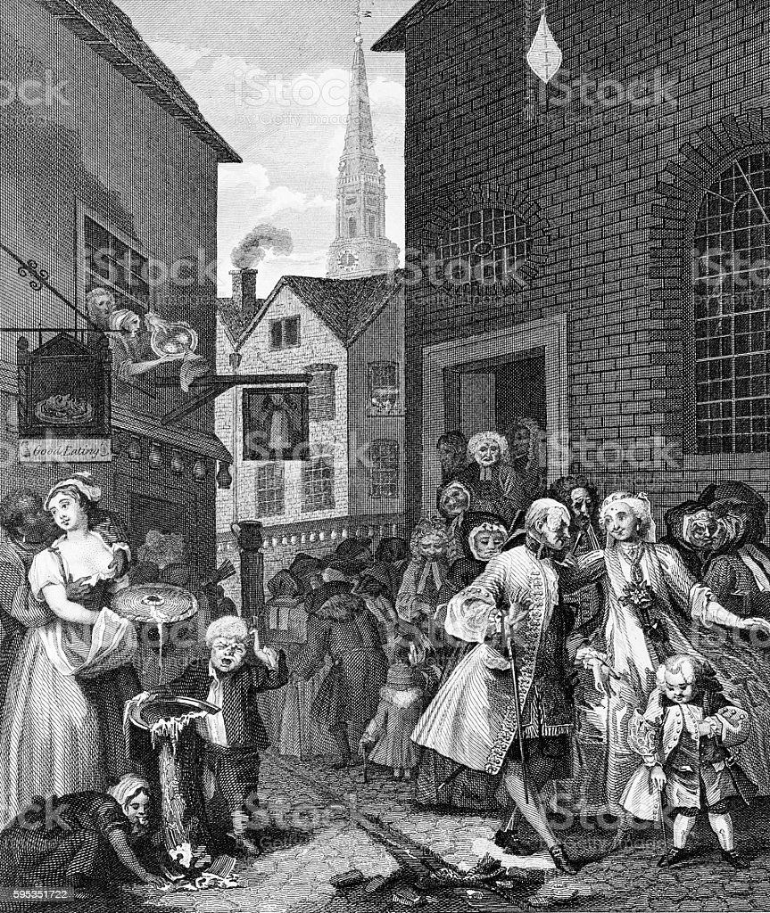 Noon, Times of the Day, by William Hogarth vector art illustration