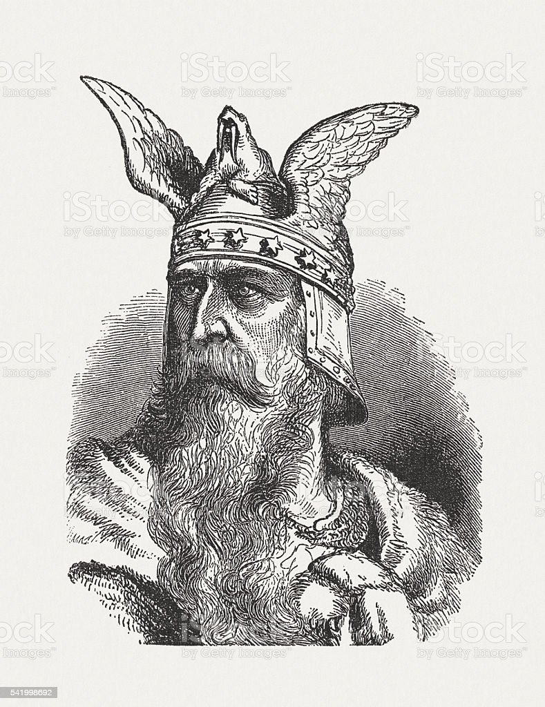 Norman King, 11th century, wood engraving, published in 1884 vector art illustration