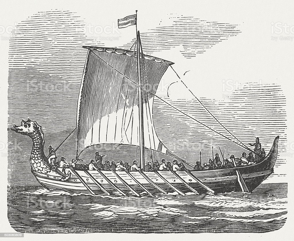Norman ship (10th century), wood engraving, published in 1880 vector art illustration
