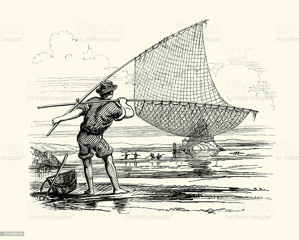 Normandy fisherman with his net, 19th Century vector art illustration