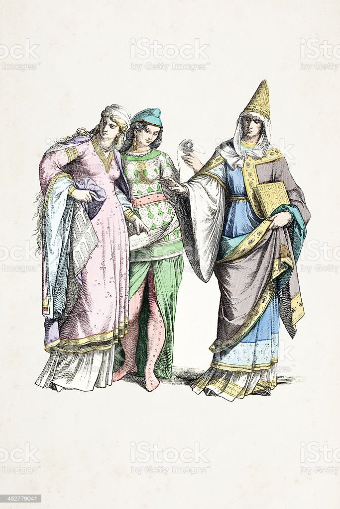 Normans with traditional costumes from 11th century vector art illustration