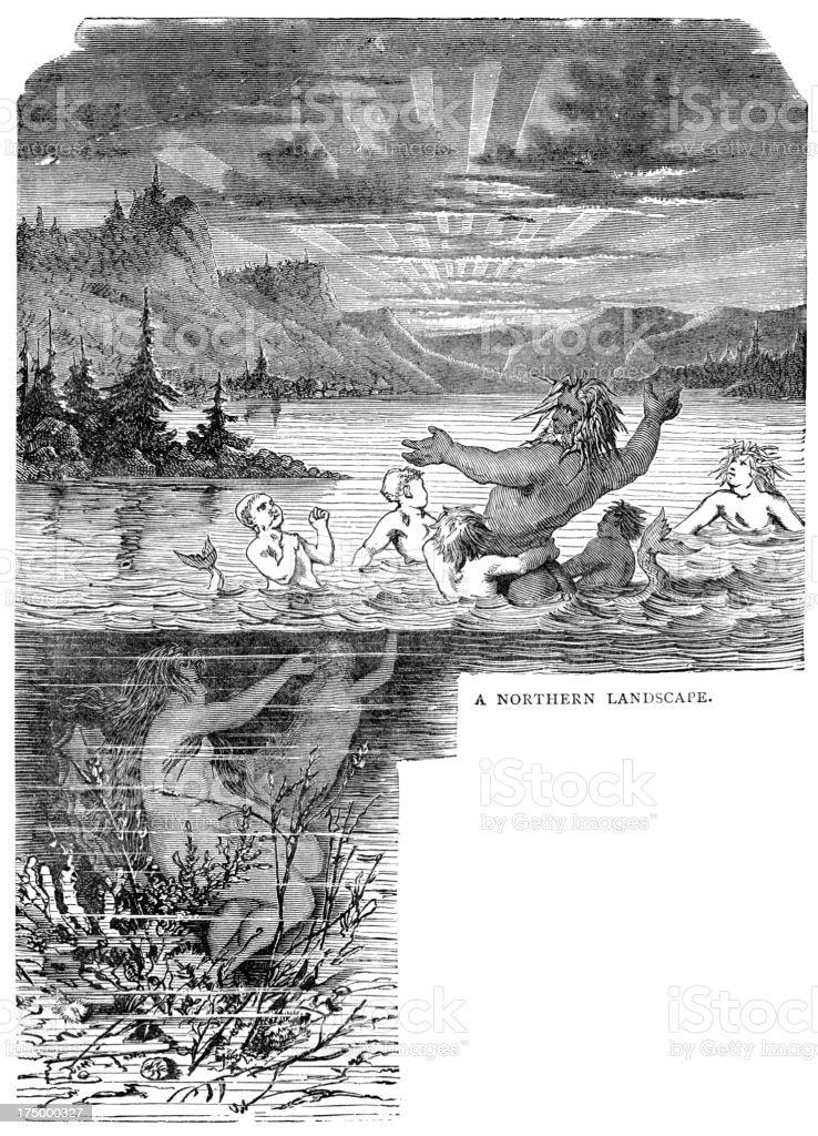 Norse mythology - A Northern Landscape vector art illustration