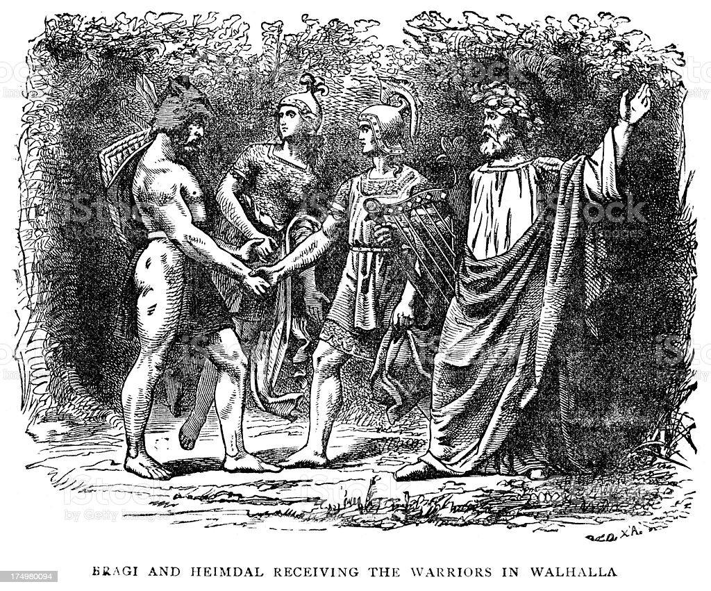 Norse mythology - Bragi and Heimdal vector art illustration