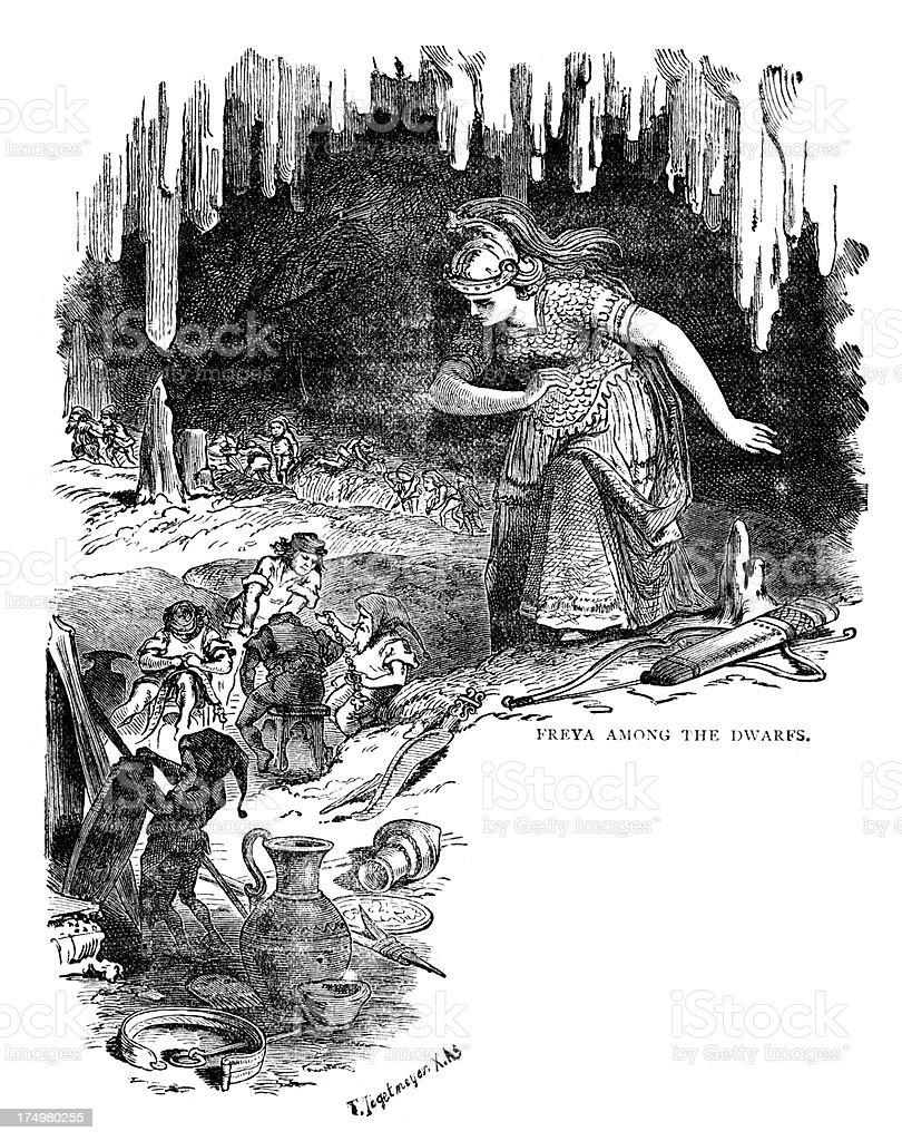Norse mythology - Freya amoung the Dwarfs royalty-free stock vector art