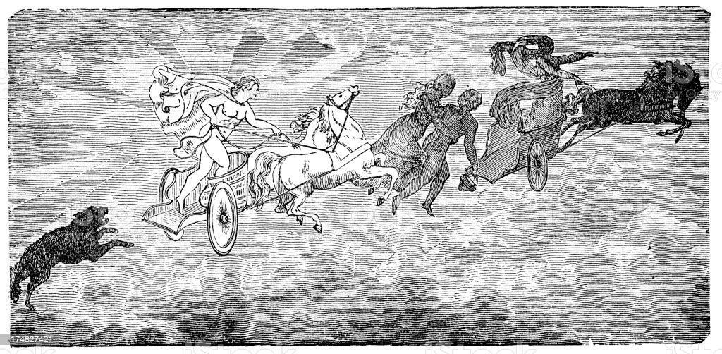 Norse mythology - Moon chariot royalty-free stock vector art