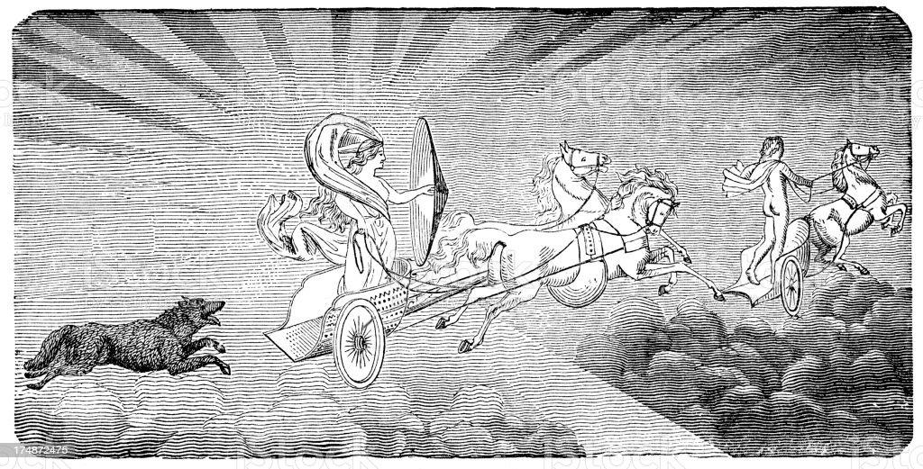Norse mythology - Sun chariot royalty-free stock vector art
