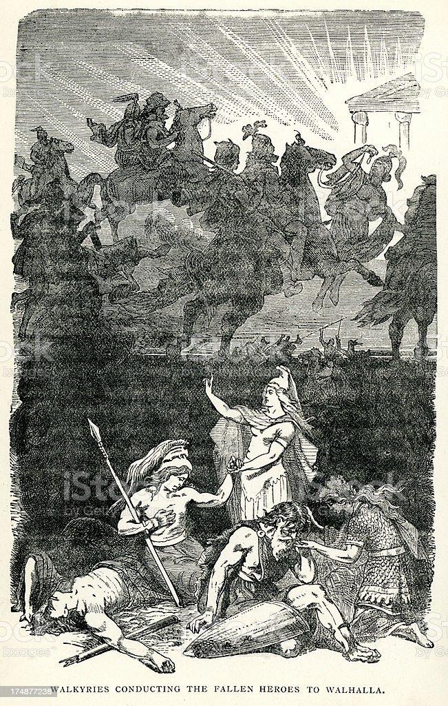Norse mythology - Valkyrie and Valhalla vector art illustration