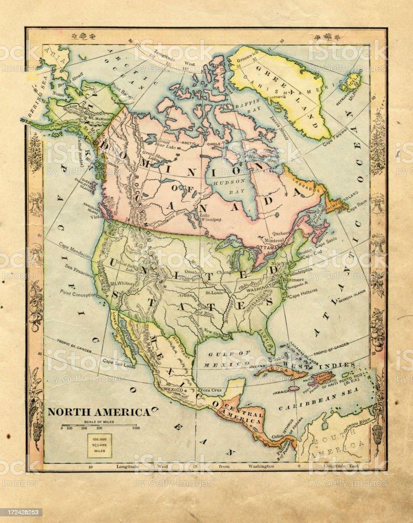 north america 1881 royalty-free stock vector art
