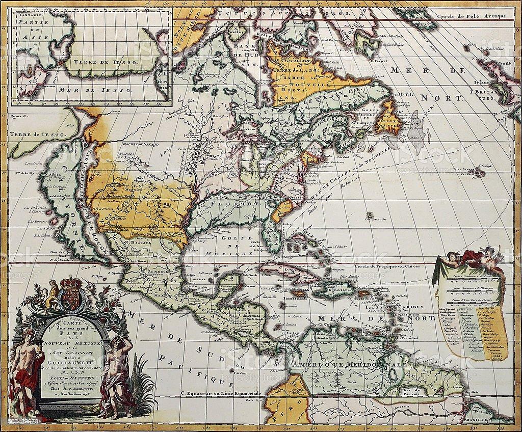 North America old map vector art illustration