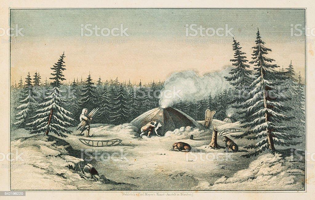 North American indians winter scene 1853 vector art illustration
