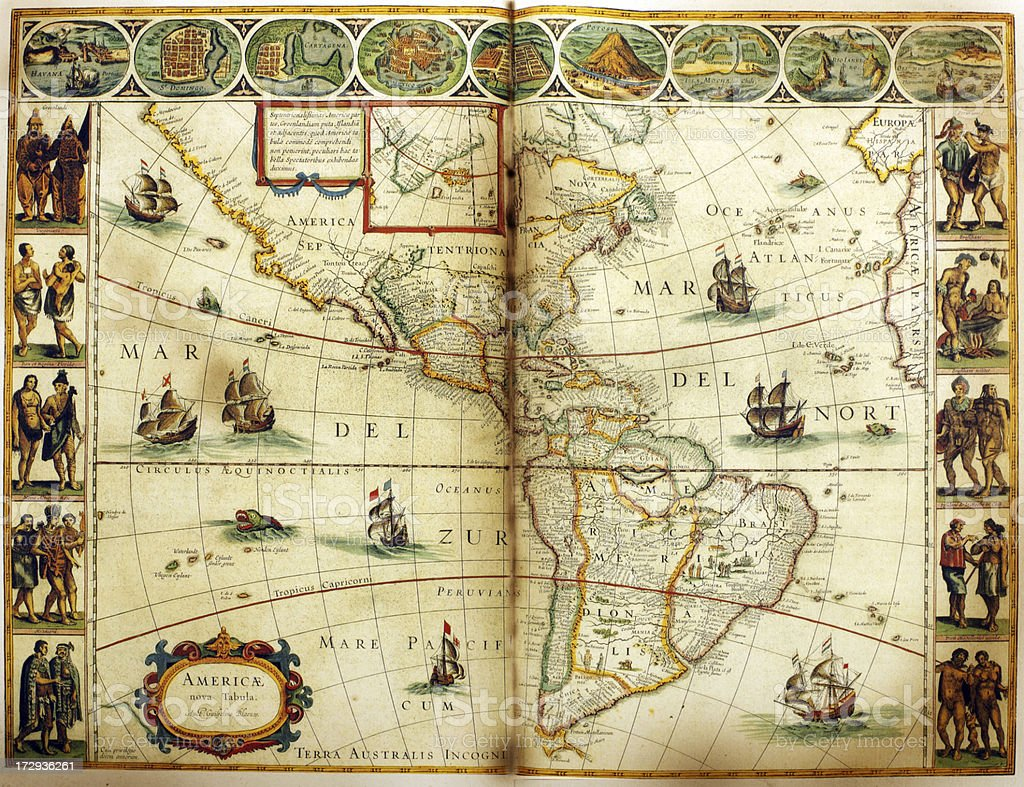 North and South America 1635 | Antique Map Collection vector art illustration