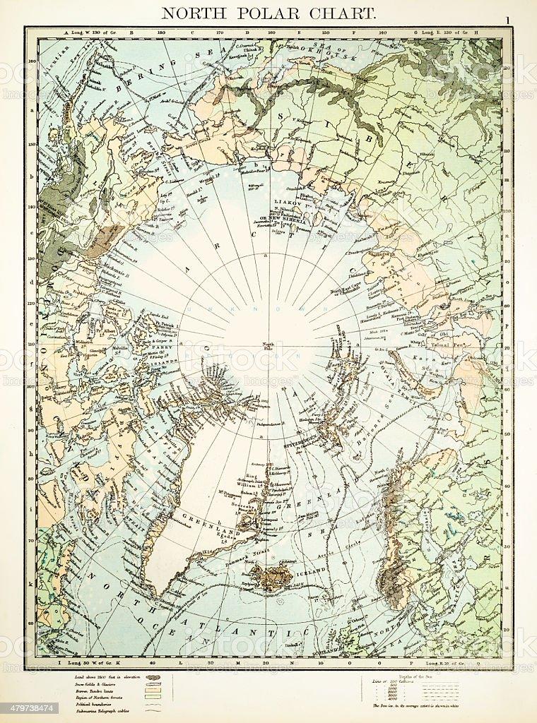 North Polar Chart 1897 vector art illustration