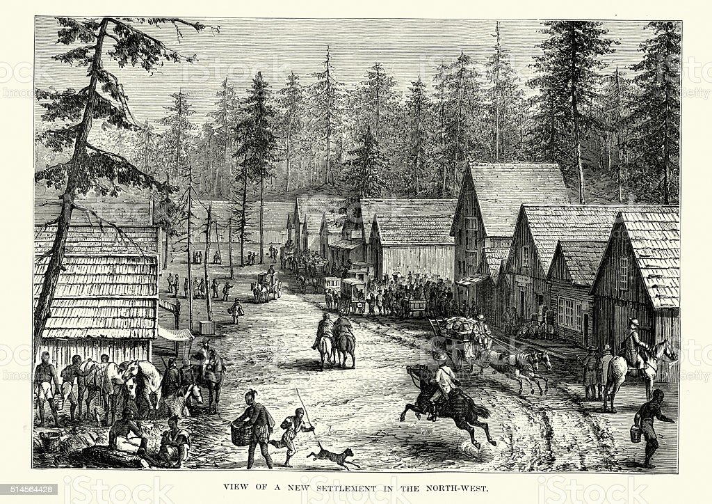 North West Frontier town in the 19th Century vector art illustration