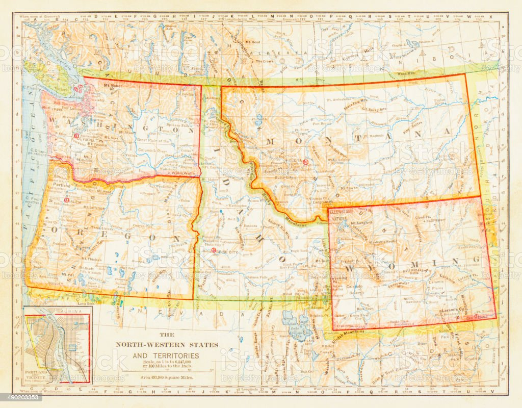 1883 North Western States Map stock photo