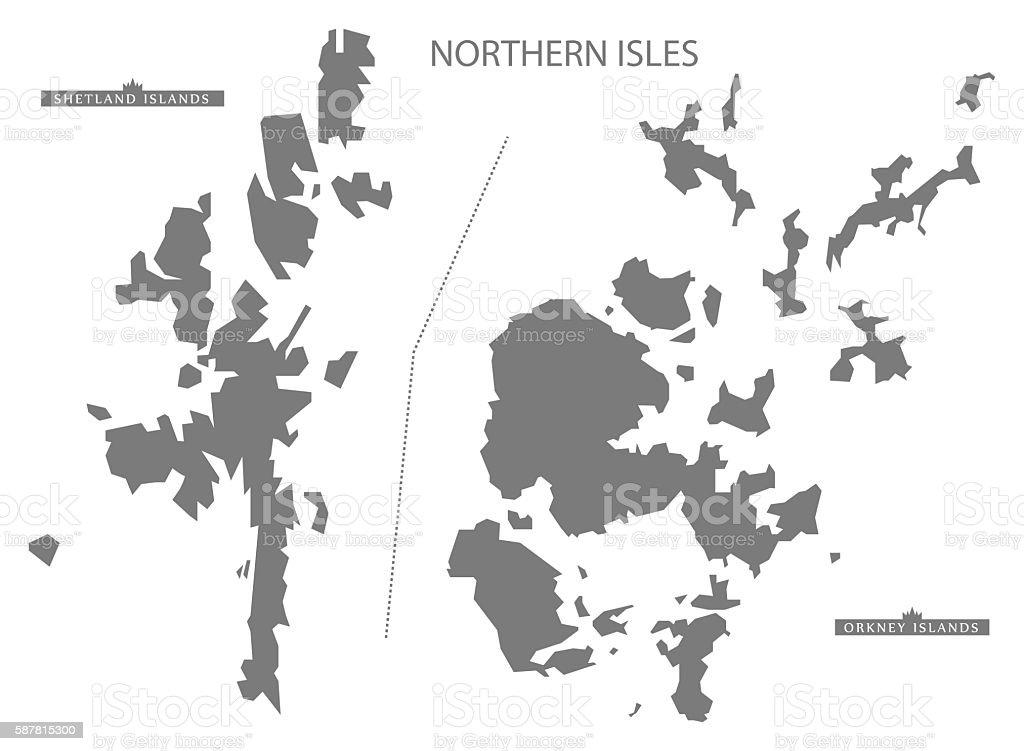 Northern Isles Scotland Map grey vector art illustration