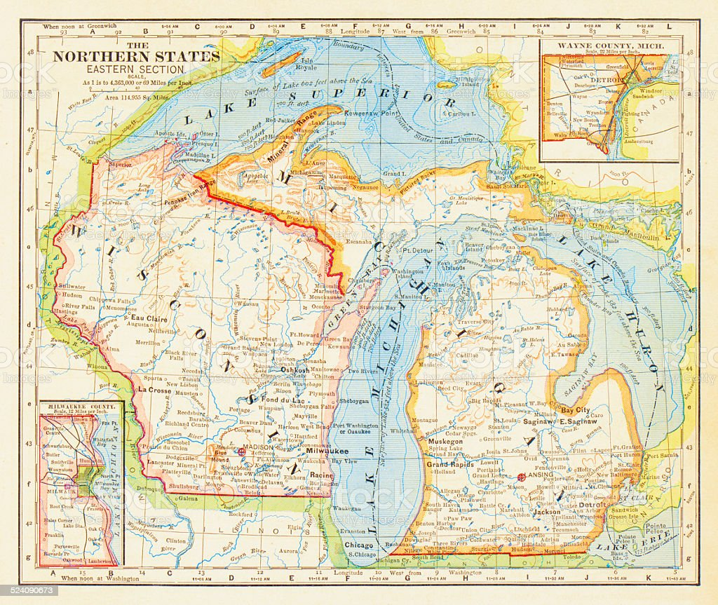 1883 Northern States Map vector art illustration