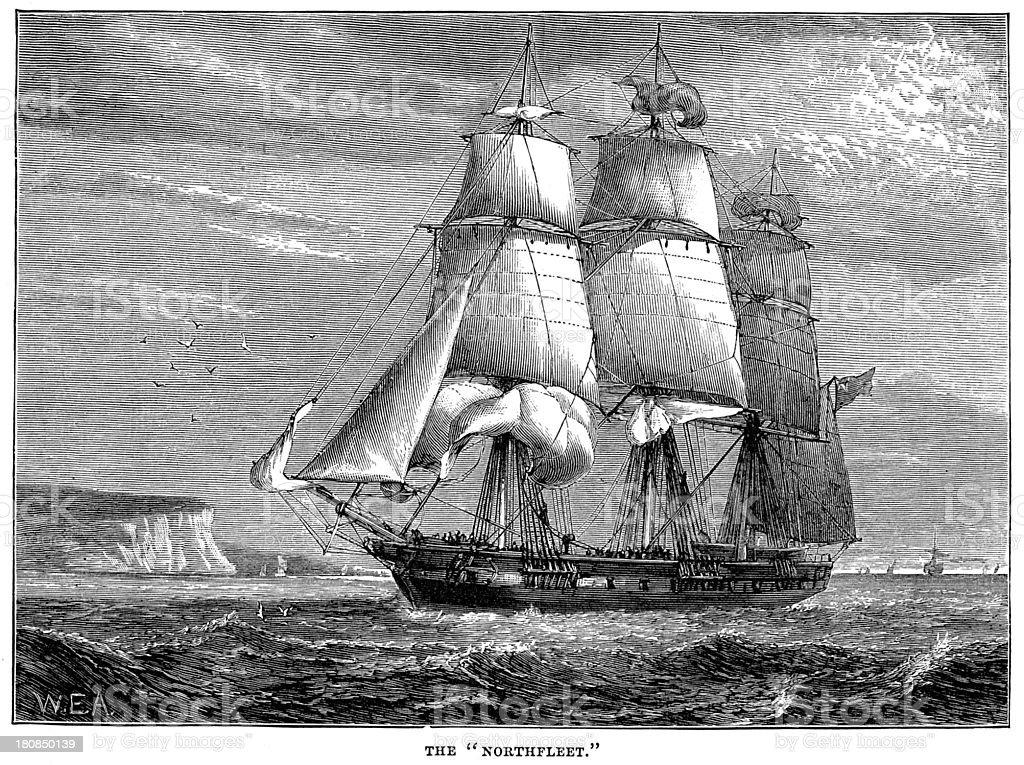 Northfleet - Full Rigged Ship vector art illustration