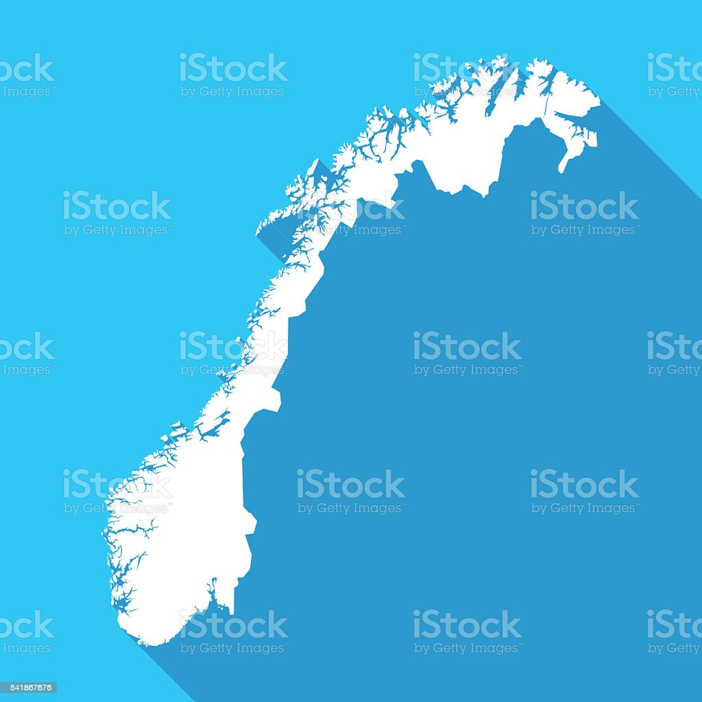 Norway long shadow map in white on a blue background vector art illustration