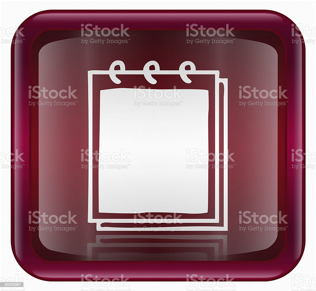 Notebook icon red, isolated on white background royalty-free stock vector art