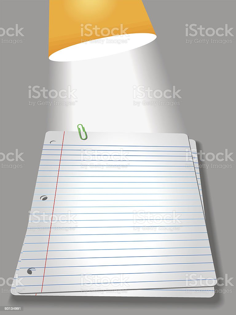 Notebook Paper Pages PaperClip Lamp royalty-free stock vector art