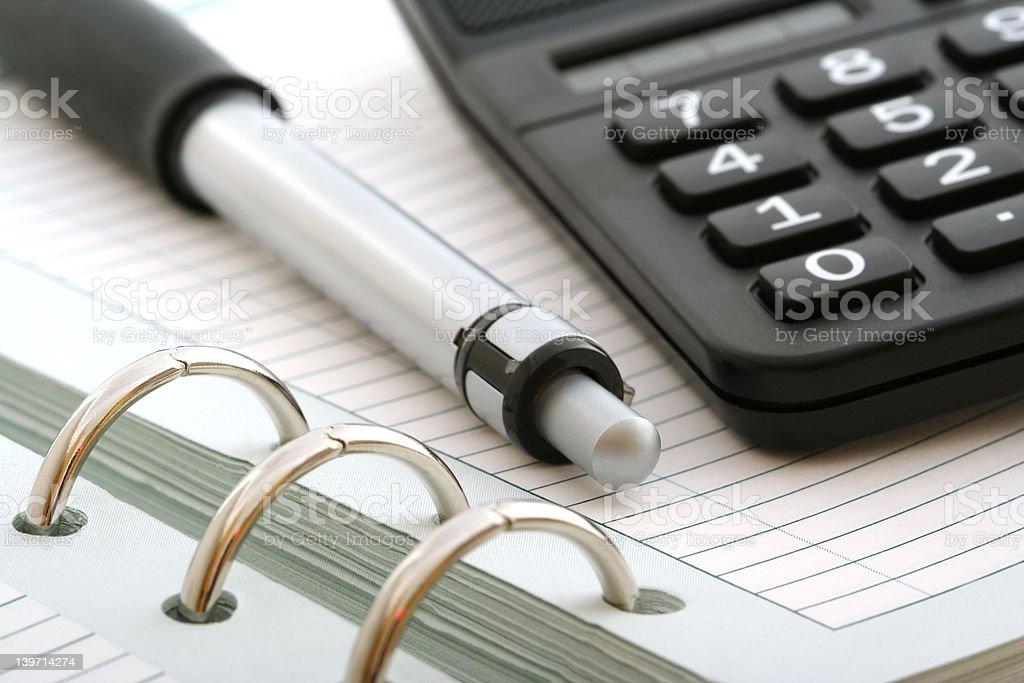 notebook,ballpen and calculator royalty-free stock vector art