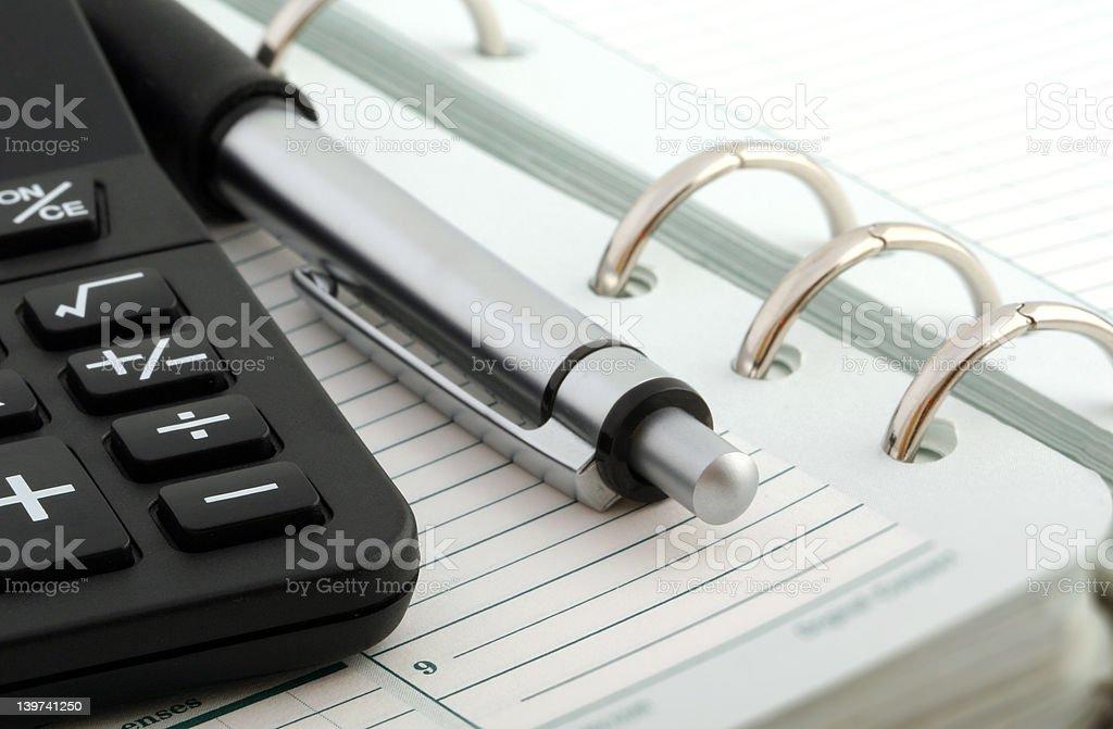 Notebook,Ballpen and Calculator vector art illustration