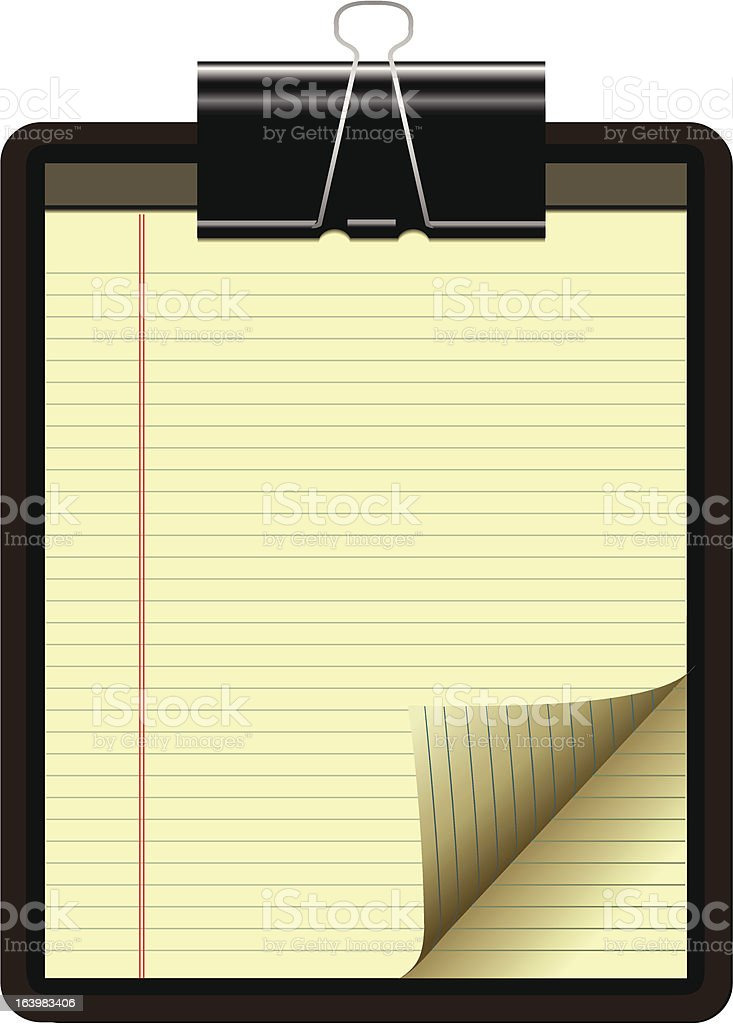 Notepad with yellow lined paper and black clip royalty-free stock vector art