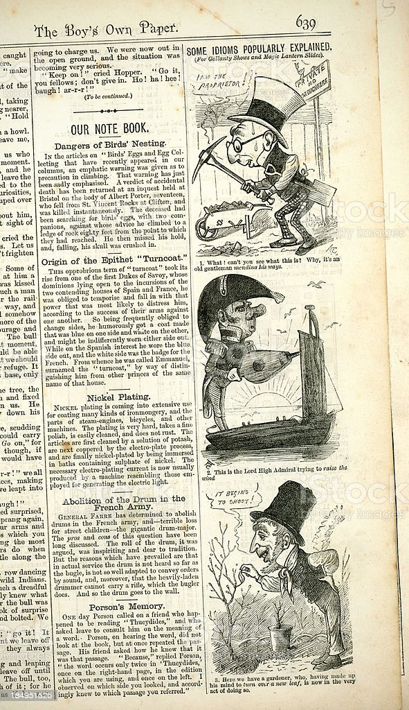 Notes and idioms from 'The Boy's Own Paper', 1880 royalty-free stock vector art