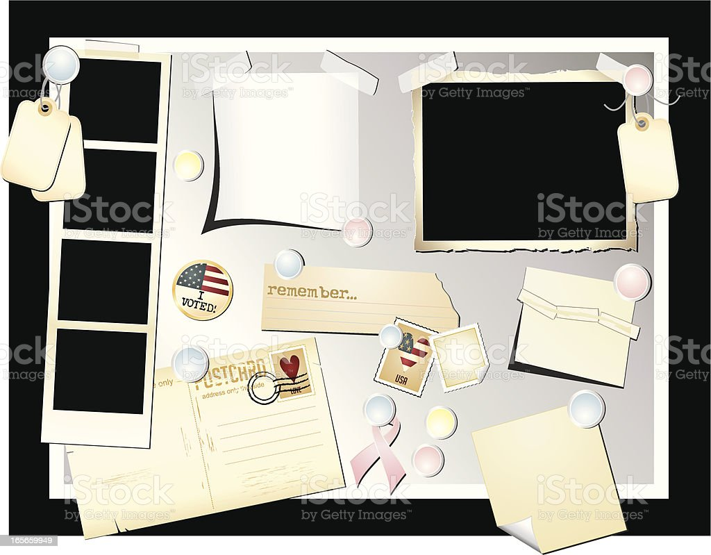Notice Board with Goodies royalty-free stock vector art