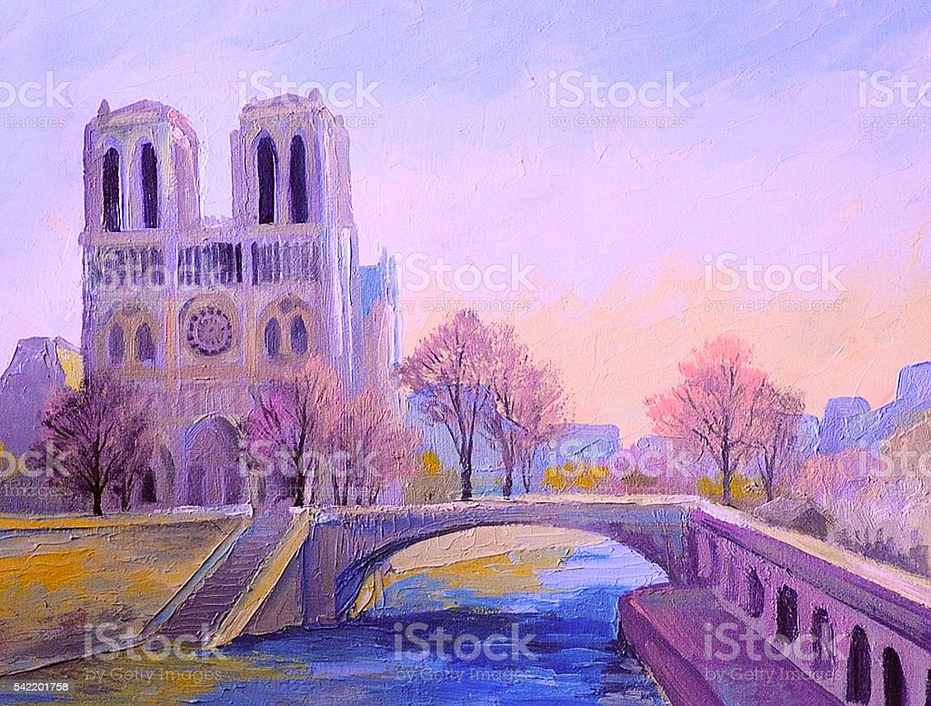 Notre Dame De Paris, colorful oil painting, abstract impressionism vector art illustration