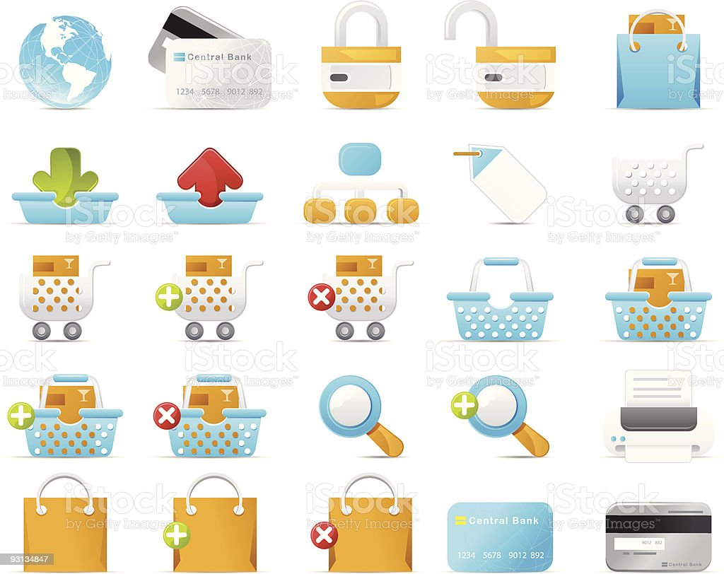 Nouve icon set: Internet and e-Commerce royalty-free stock vector art