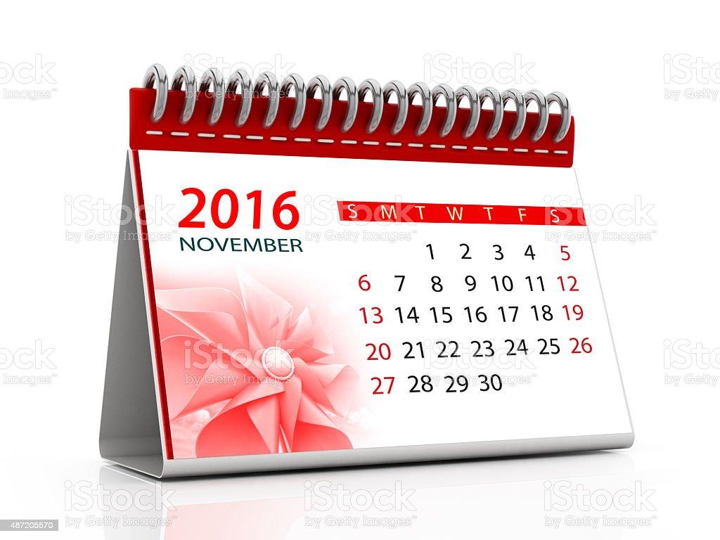 November 2016 desktop calendar vector art illustration
