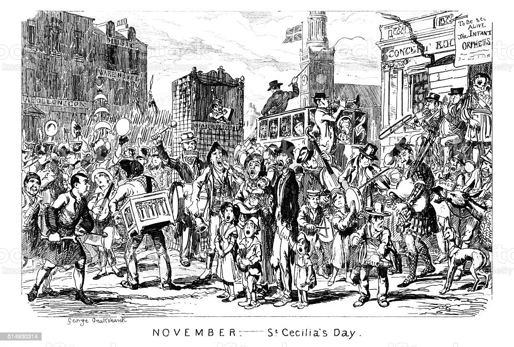 November - St Cecilia's Day vector art illustration