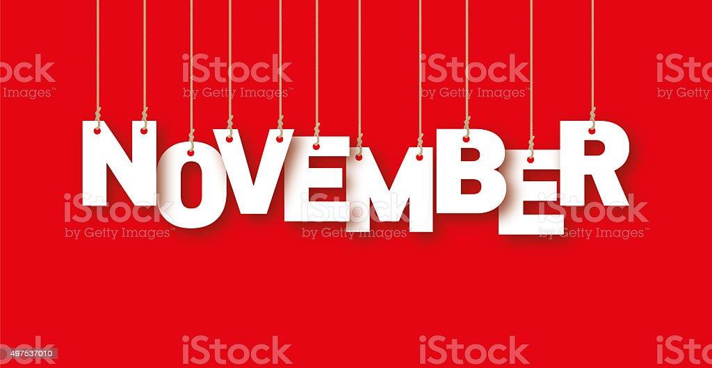 November word hanging on the ropes vector art illustration