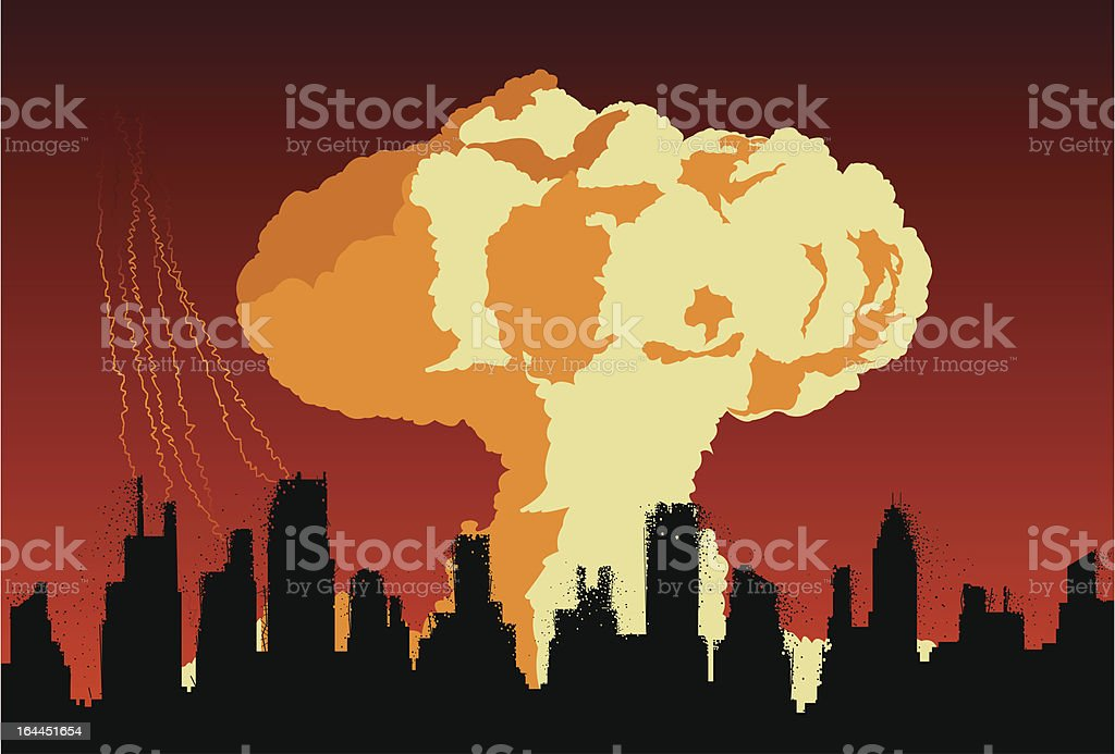 Nuclear explosion cloud over the city concept vector art illustration