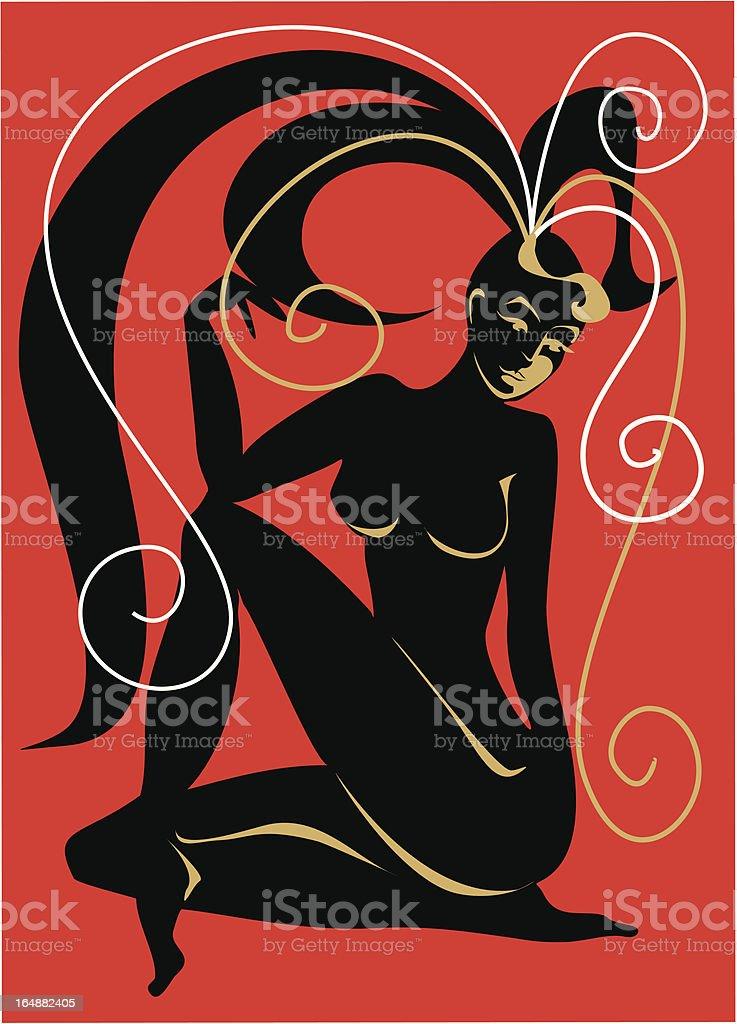 Nudes girl . Illustration . royalty-free stock vector art