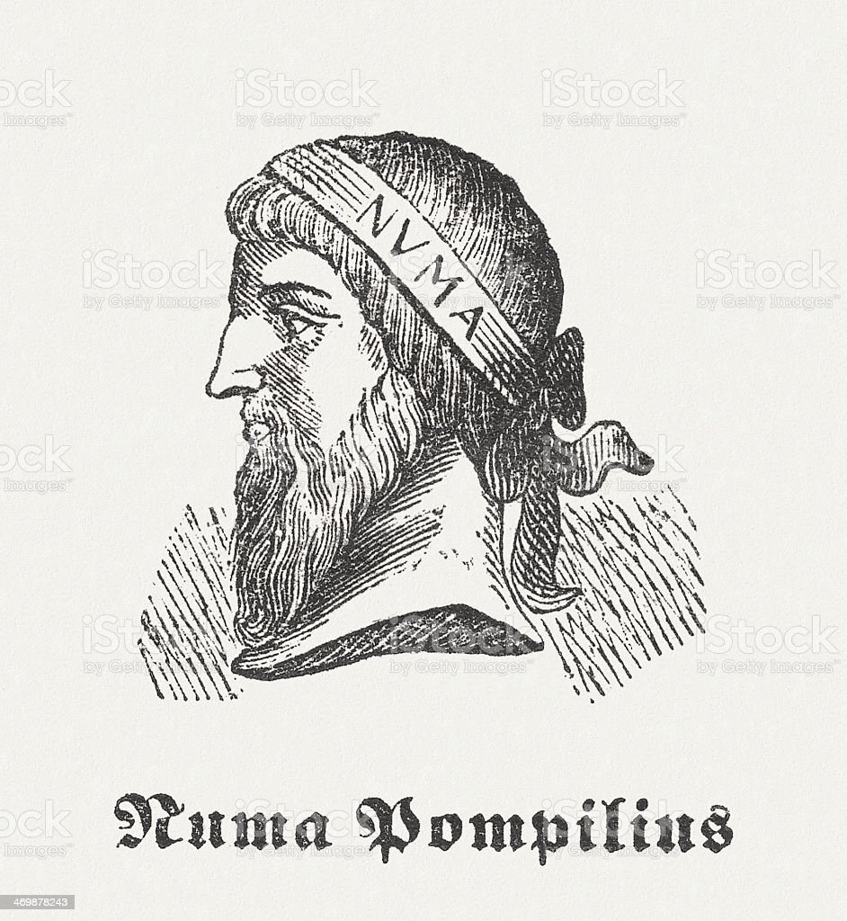 Numa Pompilius, legendary second roman king, wood engraving, published 1864 royalty-free stock vector art