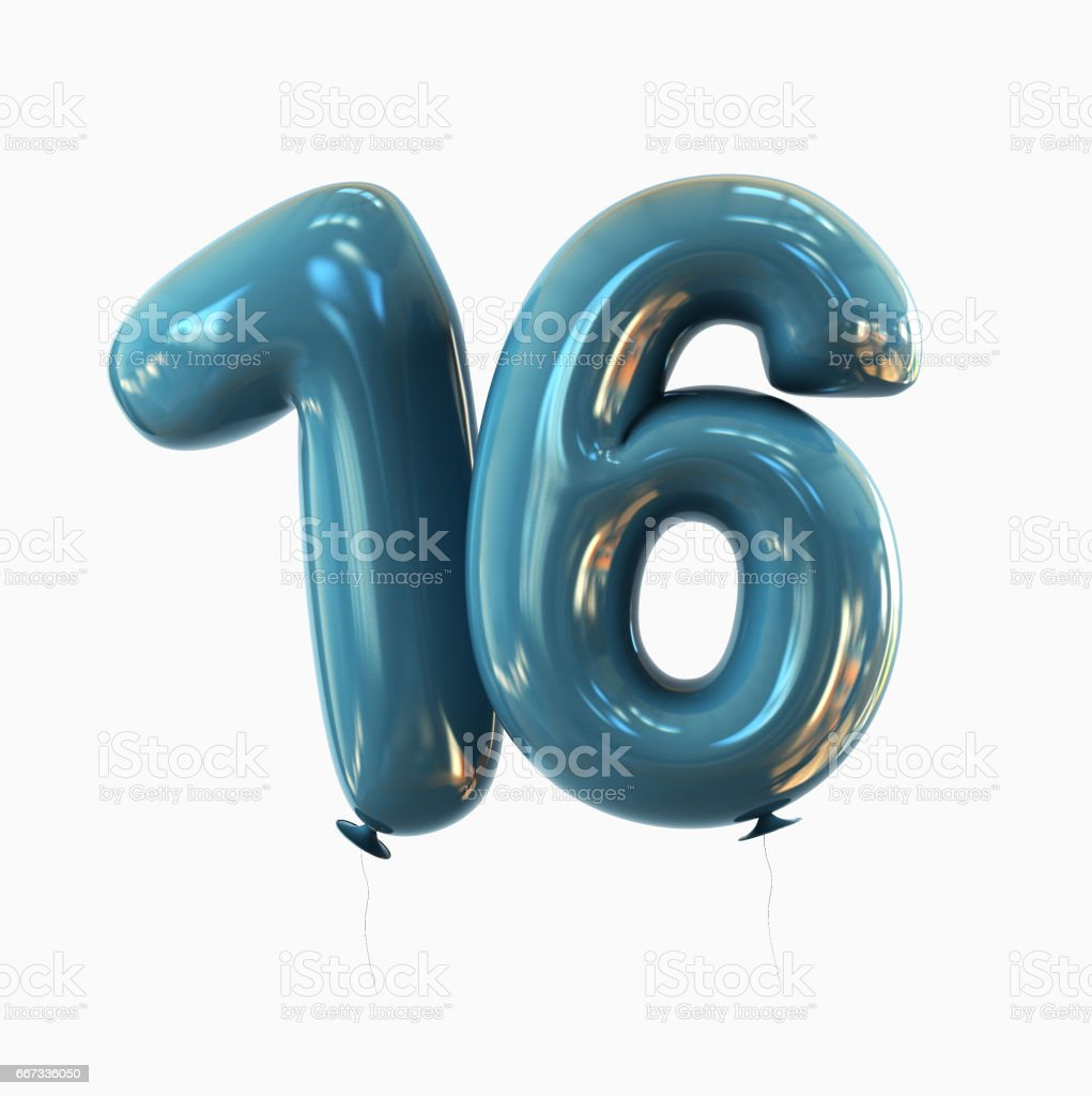 Number 16 Balloon font isolated on White Background stock photo