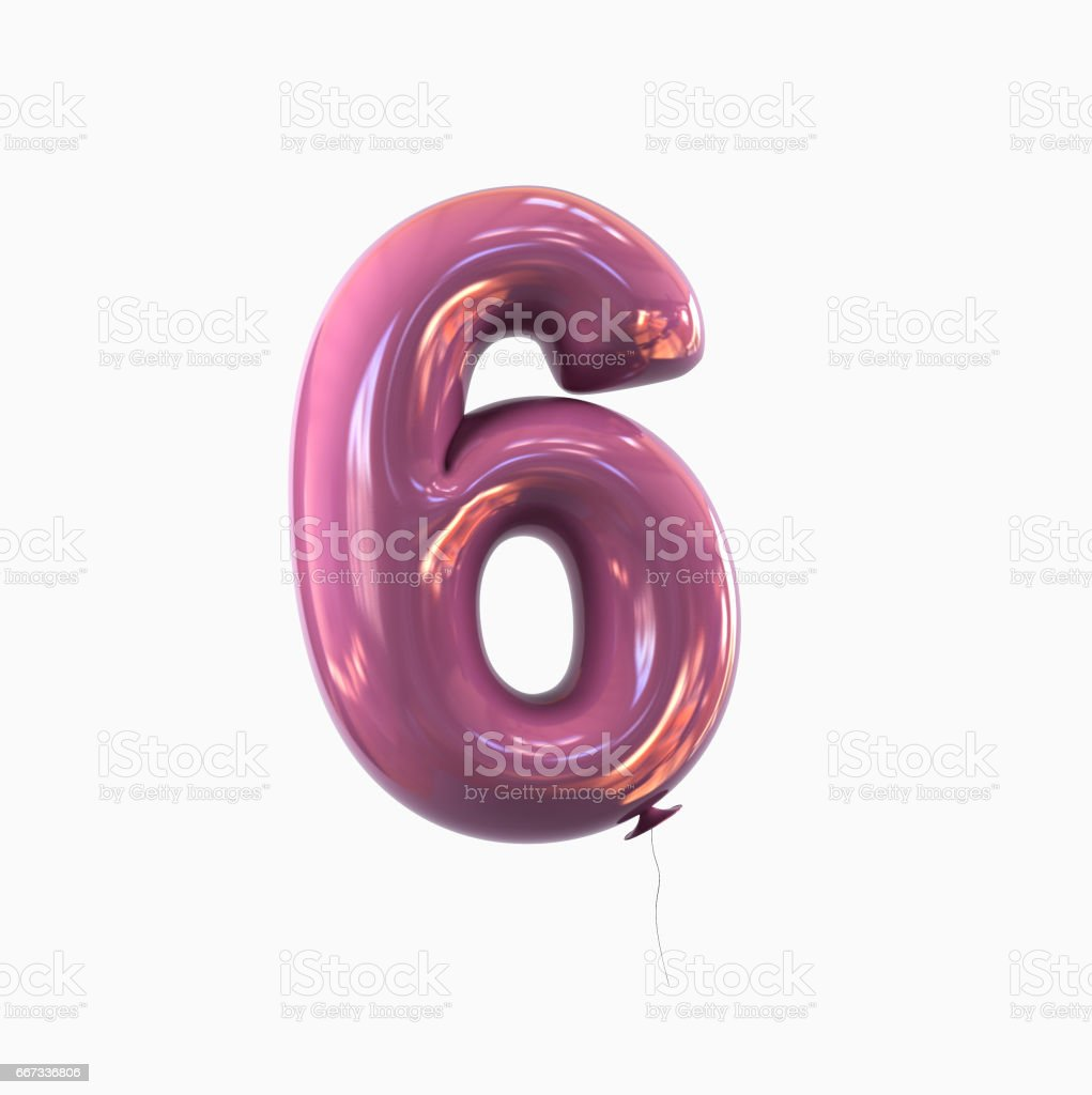 Number 6. Balloon font isolated on White Background stock photo