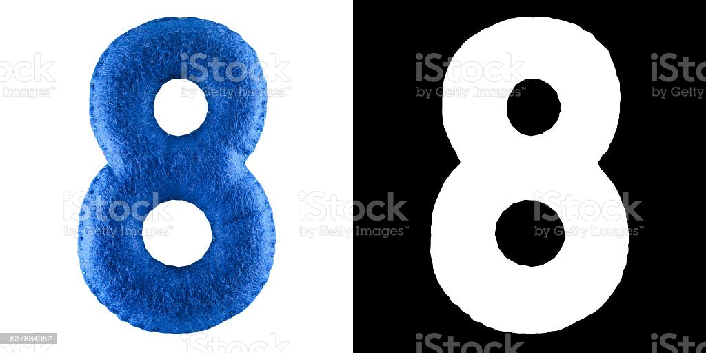 Number 8. Hand made toy from blue felt. Symbol eight vector art illustration