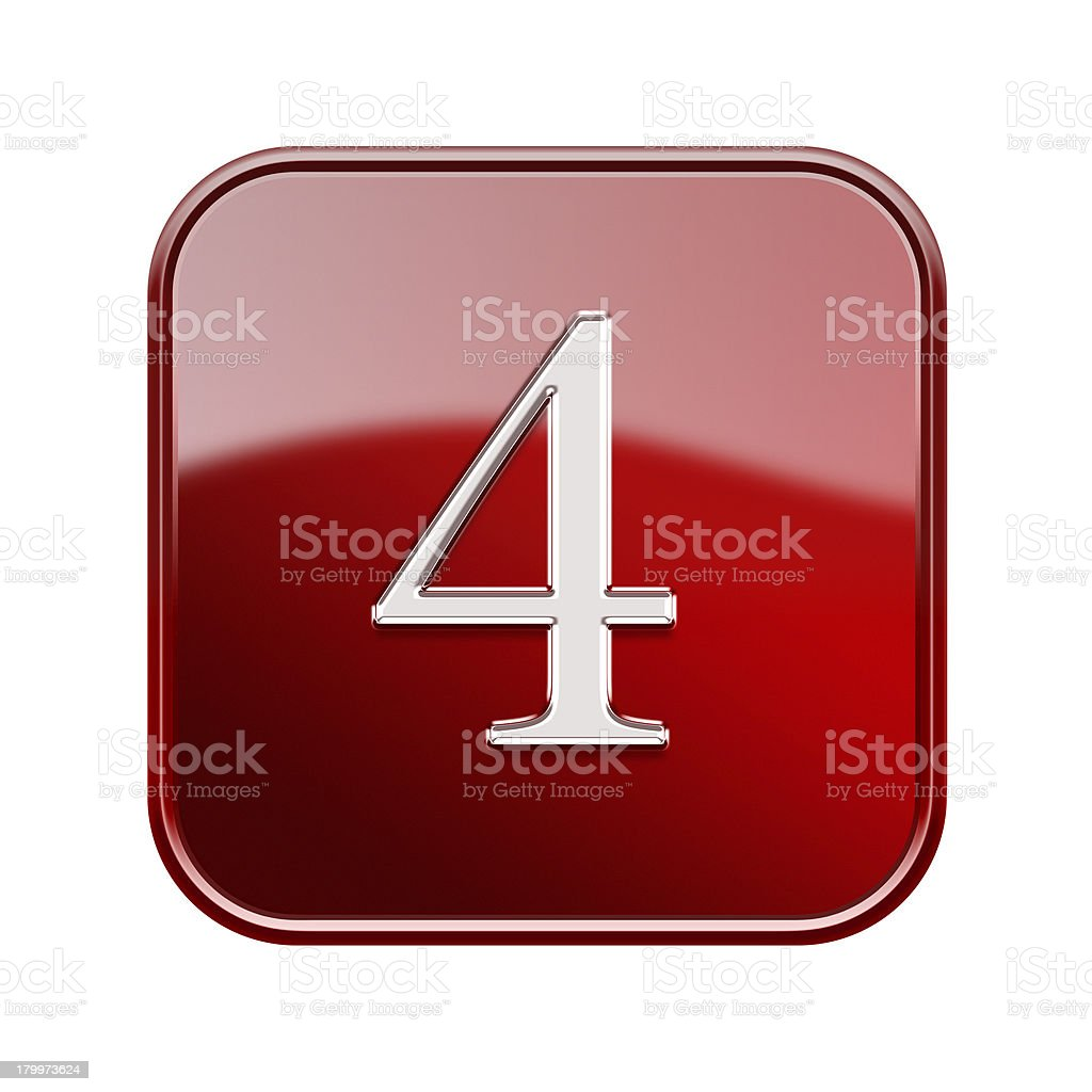 Number four red glossy, isolated on white background royalty-free stock vector art
