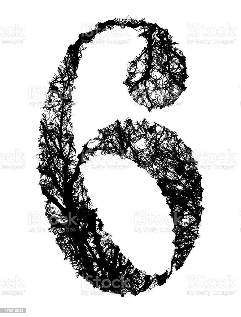 number six made from black tree branches royalty-free stock vector art
